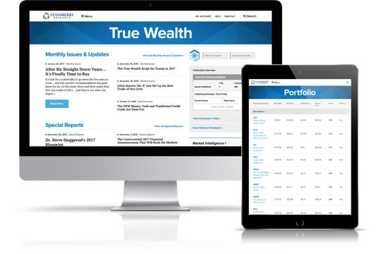 True Wealth publication as viewed on desktop and tablet devices